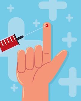Ręczny test cukrzycy ze strzykawką