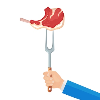 Ręczny widelec ze stekiem wołowym z grilla