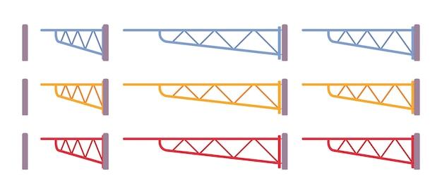 Ręczny zestaw szlabanów do bram skrzydłowych. ogrodzenie parkingu lub stacji kolejowej w celu kontroli dostępu. upiększanie ulic miasta, koncepcja urbanistyczna. ilustracja kreskówka styl, różne pozycje
