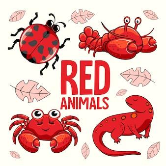 Red animals cartoon ladybug lobster crab newt