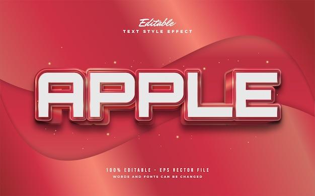 Red apple text style z efektem 3d i wytłoczonym. edytowalny efekt tekstowy