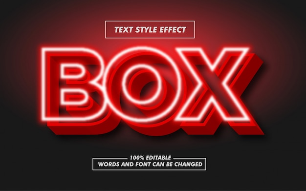 Red box signboard pogrubiony efekt stylu tekstu