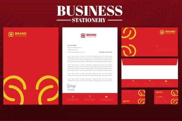 Red corporate business identyfikacja korporacyjna papeteria
