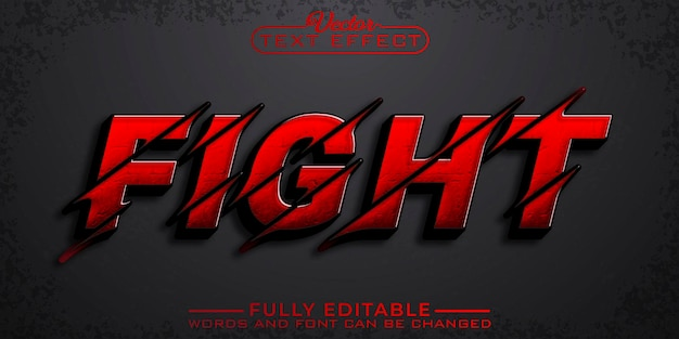 Red fight edytowalny szablon efektu tekstowego