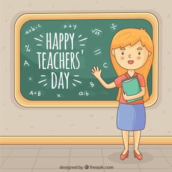 Red-haired nauczyciel przy tablicy