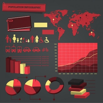 Red infographic elements