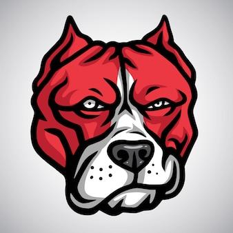 Red pitbull maskotka smirking. szablon logo wektor
