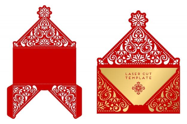 Red pudełko ze złotymi ozdobami i elementami