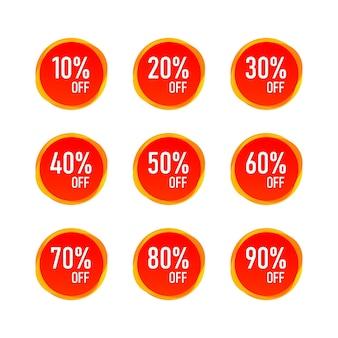 Red sale 10 - 90 procent zniżki na etykietę etykiety na białym tle. wektor eps10