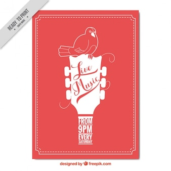 Red stron broszura z gitarą i ptaków