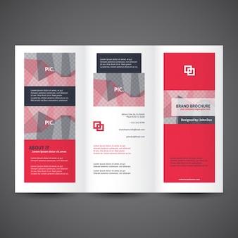 Red trifold broszura szablon