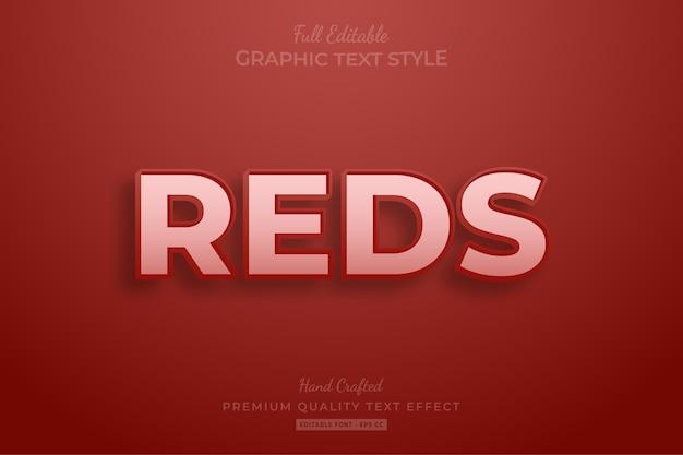 Reds clean edytowalny efekt stylu tekstu