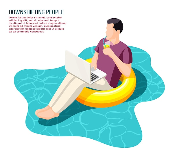 Redukcja ucieczki uciekających z biura ludzi pracujących z notebookiem siedzących zrelaksowanych na pływającej ilustracji izometrycznej pierścienia pływackiego
