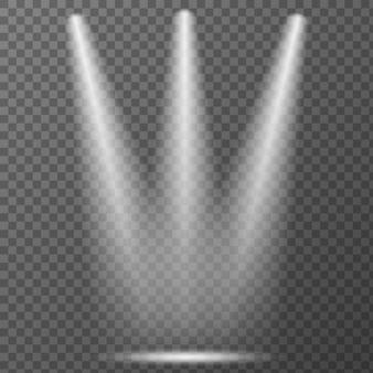 Reflektor na przezroczystym tle. efekt świetlny wektor