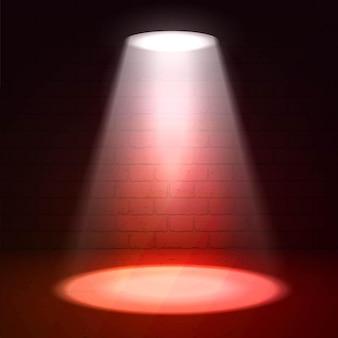 Reflektor sceniczny na ciemnym tle. oświetlenie punktowe sceny. pokaż wyróżnienie sceny. tło sceny z efektem blasku reflektora. reflektor na scenie.