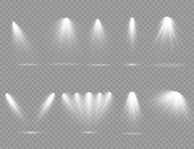Reflektor świeci na światło sceniczne wyłączne użycie efektu lampy błyskowej obiektywu światło z lampy lub podium oświetlone reflektorem sceny pod reflektorem