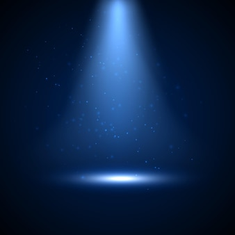 Reflektor z błyszczącym światłem i drobinami. świąteczna podświetlana blaskowa konstrukcja tła światła punktowego i sceny.