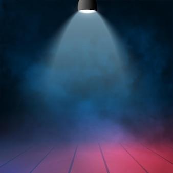 Reflektor z dymem na tle sceny. lekki pokaz imprezowy. oświetlona pusta scena klubowa lub teatralna.