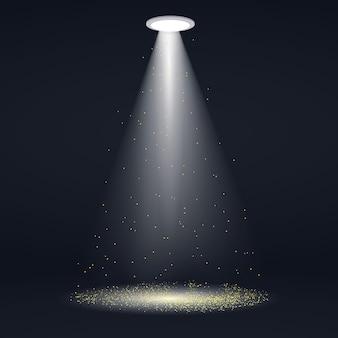 Reflektor ze złotymi światłami brokatowymi. ilustracja
