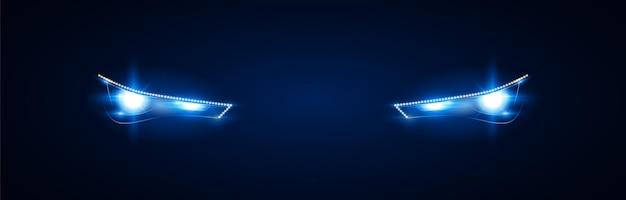 Reflektory nowoczesnego samochodu. jasne niebieskie światło z reflektorów ksenonowych