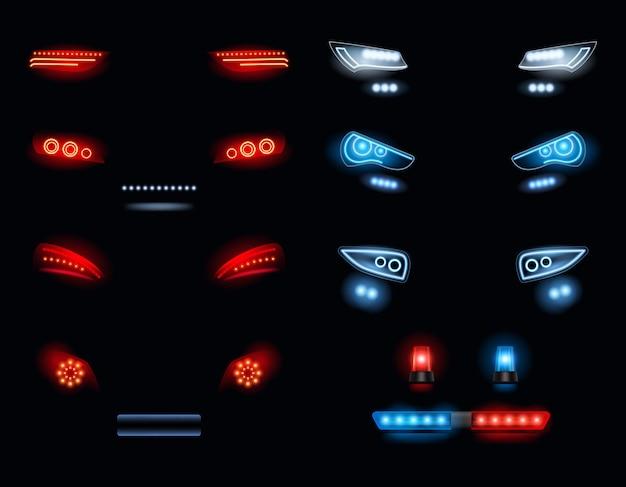 Reflektory samochodowe. ciemne środowisko z czerwonymi i białymi światłami samochodowymi wektor realistyczna kolekcja