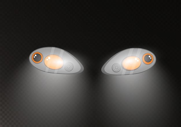 Reflektory samochodowe. realistyczna lampa samochodowa.