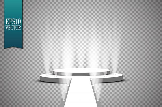 Reflektory scena. podium z efektami świetlnymi.