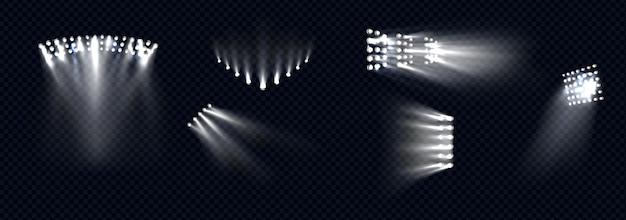 Reflektory światła scenicznego białe belki lampy promienie ustawione