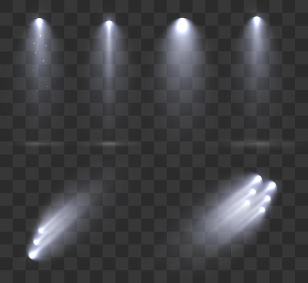 Reflektory ustawione na białym tle
