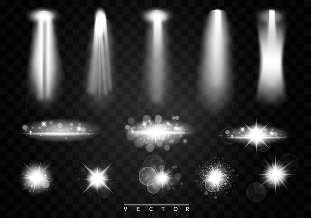 Reflektory wektorowe. scena. efekty świetlne. świecąca gwiazda, cząsteczki słońca i iskry z efektem podświetlenia, złote światła bokeh błyszczą i cekiny.