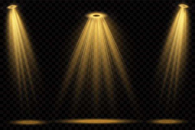 Reflektory żółte. scena. efekty świetlne przezroczyste.