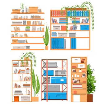 Regał do domu i biura, regał, regał lub stojak z boojami, akcesoriami, papierem biurowym i teczką z zielenią, roślinami w doniczkach. domowy i biurowy półka set, płaska ilustracja