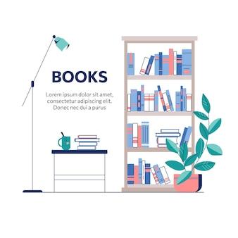 Regał i stół z książkami i filiżanką herbaty