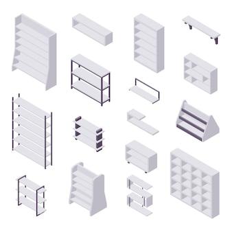 Regał izometryczny - zbiór różnych gablot i półek na książki do domu i wnętrza sklepu