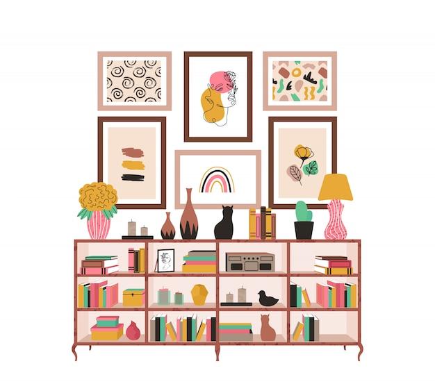 Regał z książkami i roślinami doniczkowymi oraz obrazkami w stylu skandynawskim