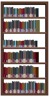 Regał z książkami na białym tle