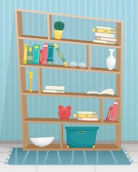 Regał z książkami, świecami, wazonami i innymi akcesoriami.