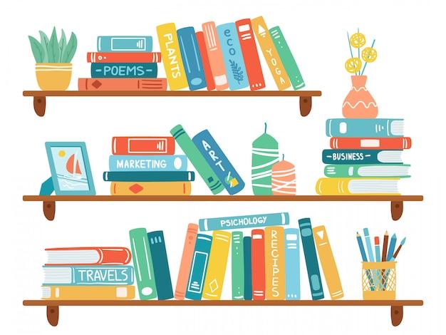 Regały wewnętrzne. książki na półce, stos podręczników, edukacja szkolna lub półka w księgarni, zestaw ilustracji regału bibliotecznego. archiwum szkolne i księgarnia, regał i regał