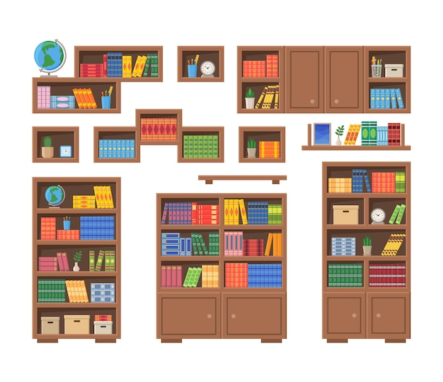 Regały z książkami i innymi artykułami biurowymi. ilustracja wektorowa półki na książki na białym tle