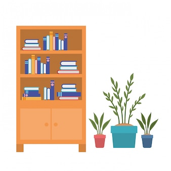 Regały z książkami na białym tle
