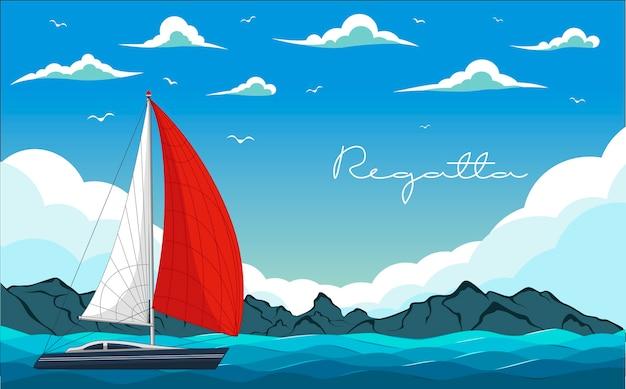 Regaty jachtów. element podróży po morzu i oceanie. szablon sportu i wakacji.