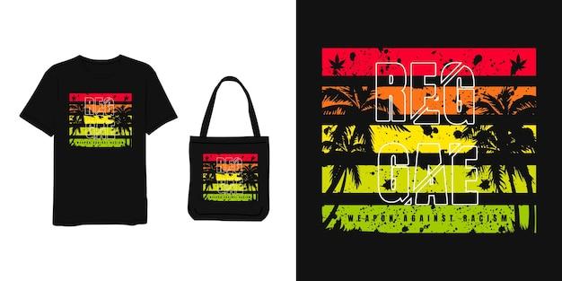 Reggae, koszulka i projekt torby czerwony żółty zielony nowoczesny prosty styl