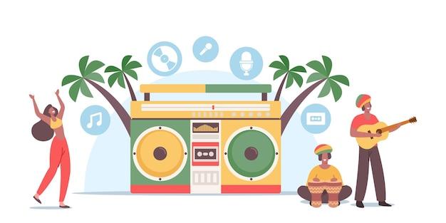 Reggae party, koncepcja festiwalu muzycznego. małe rasta męskie postacie kobiece w kostiumach jamajki taniec i granie na ukulele lub bębny w ogromnym magnetofonie na plaży. ludzie zabawy. ilustracja kreskówka wektor