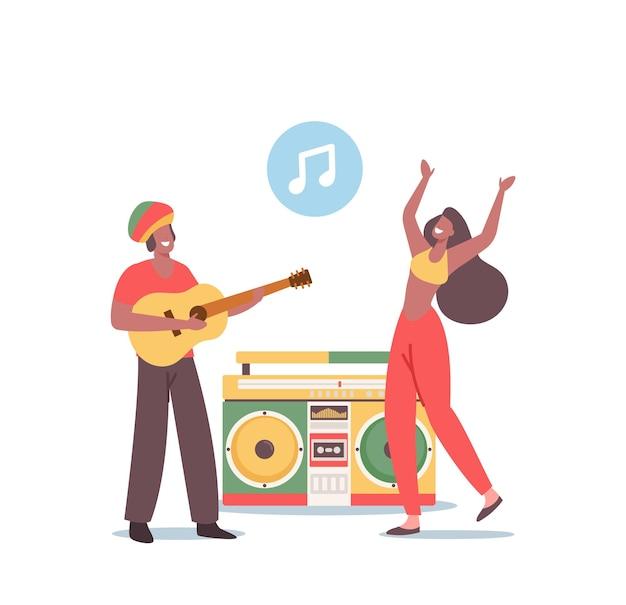 Reggae party, rasta ludzie zabawy, festiwal muzyczny. hipisowskie postacie męskie i żeńskie w kostiumach jamajki taniec