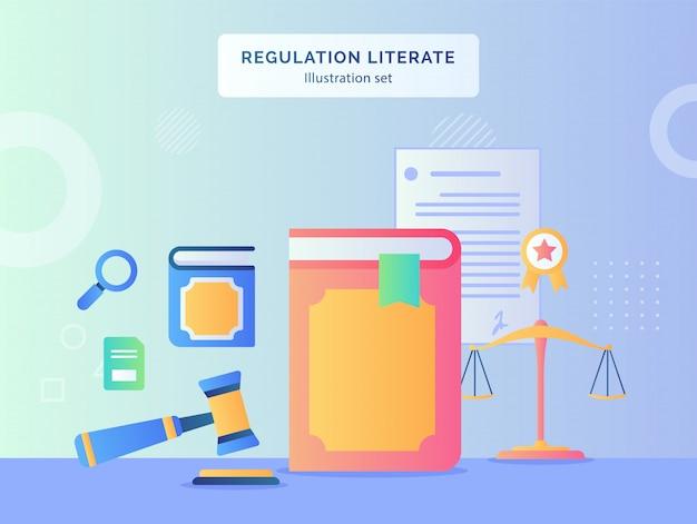 Regulacja literacka ilustracja ustawia młotek książkowy tło umowy dokumentu wstążkowego z certyfikatem skali z płaskim stylem.