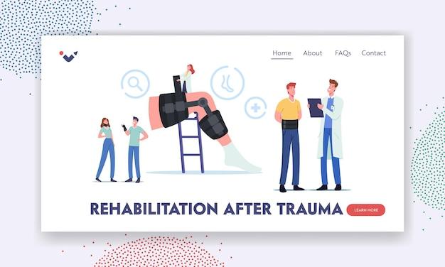 Rehabilitacja po traumie szablon landing page. ortopedia opieka zdrowotna. mała postać lekarza ortopedy na ogromnej nodze z bandażem do leczenia złamań kości. ilustracja kreskówka wektor