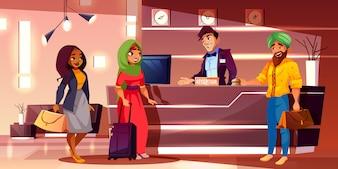 Rejestracja nowo przybyłych gości na kreskówce recepcji hotelowej