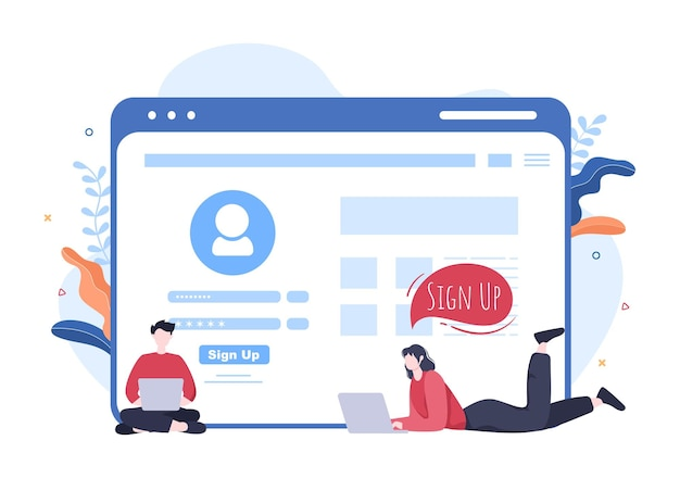 Rejestracja online lub zarejestruj się zaloguj się do konta w aplikacji na smartfony. interfejs użytkownika z aplikacją mobilną secure password dla interfejsu użytkownika, banera internetowego i dostępu. ilustracja wektorowa kreskówka ludzie