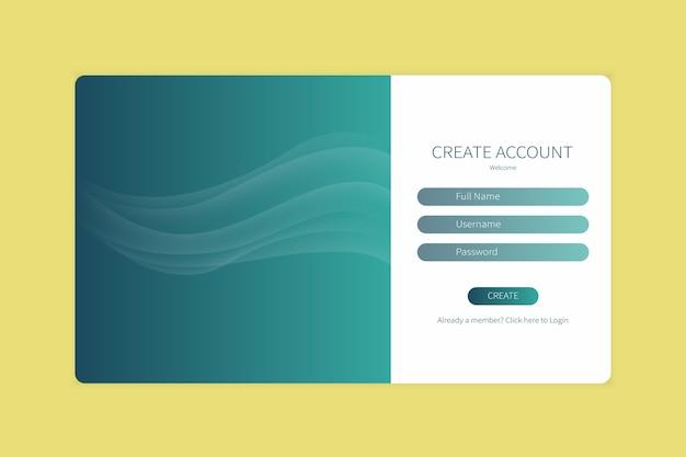 Rejestracja strony docelowej lub szablon formularza logowania