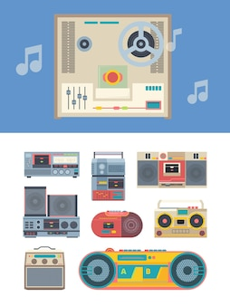 Rejestrator retro. przenośne zabytkowe odtwarzacze audio kolekcja gadżetów muzycznych. styl lat 80-tych na białym tle